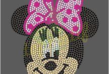 Mickey Minnie Mouse Rhinestone Designs / cute Mickey Minnie Mouse Rhinestone transfers