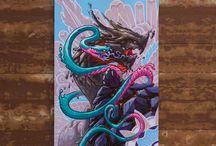 Guardians of Celestial. 4 canvas 60x40. Acrylic.