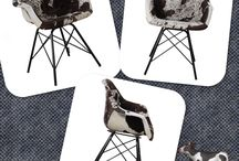 Trendy stoelen en barkrukken in rood en zwartbont, verkrijgbaar bij Chairs@Home in Hooge Zwaluwe.