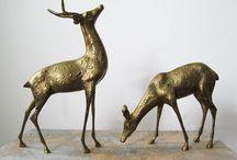 Mid Century Brass Figurines