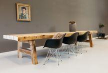 www.tafelopmaat.nu / Stoere hippe grote tafels gemaakt van douglashout met metalen onderstellen Made in Holland!