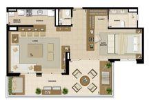 Plantas de casas e Lofts / Construções amplas, com pé-direito alto e vãos livres, escritório, quarto, sala, casa-de-banho e cozinha confundem-se num mesmo salão.