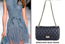 Bianca Navy blue Quilted Italian leather handbag