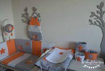 Linge lit bébé renard orange gris blanc