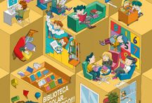 Carteles de las bibliotecas escolares gallegas / Carteles realizados para las bibliotecas escolares para cada curso.
