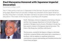 Paul Maruyama Honored with Japanese Imperial