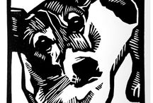 Dogs printmaking