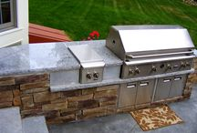 Outdoor Living / Outdoor living spaces. Backyard possibilities only grow when you consider elements like outdoor kitchens with inset grills and fridge spaces, and fire pits, outdoor fireplaces and custom seating all built with granite and natural stone.