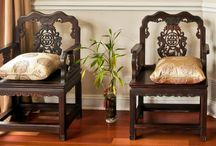 Asian Style Chairs and Stools / All types of seating designs in Asian style, mostly crafted in rosewood or elm.