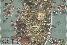 Postcrossing: Maps / Ontvangen postcrossing-kaarten met een 'map' erop :D