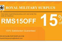 Business Cards & Promotion Code / The BUSINESS CARDS & PROMOTION CODES Section presents Special Discounts & Promotions available on Royal Military Surplus Webstore. A large inventory of Military Items & Gear used by Military Forces around the World. Royal Military Surplus also offers Lower Prices and Special Discounts for large orders, Sportive Clubs & Asociations, Local & National Security Agencies, Active Military Personnel and Veterans.