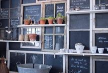 Old windows painted with chalkboard paint