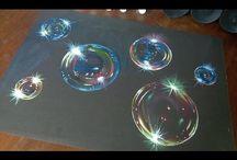 técnica pintura de burbujas.