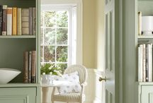 Colour Palette - green and cream / Interior design schemes featuring green and cream soft furnishings