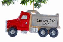 Construction Equipment Christmas Ornaments / Christmas ornaments for big and little boys.  Personalized equipment Christmas ornaments.