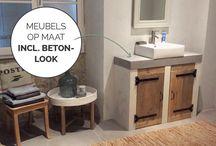 Beton-look / Badkamer meubels gemaakt van beton-look in combinatie met steigerhout. De meubels worden op maat gemaakt.