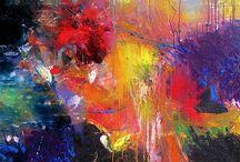 Kunst - glad for farver / Her ligger Pins med masser af farver der glæder mit øje