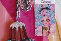Jewelry by Serena Solange Carluccio (handmade) / Pendenti dipinti con acrilici, originali Serena Solange Carluccio. Il legno è stato tagliato, levigato, trattato e dipinto interamente a mano con colori acrilici. Rifinito con vernice trasparente opaca.