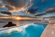 Astra Suites / Perched atop the most stunning volcanic cliffs of Santorini, resembling a quaint Cycladic village, discover the Astra Suites hotel of peaceful Imerovigli village in Santorini, Greece! Breathtaking panoramic views of the mysterious caldera, a sleeping volcano, and the endless blue Aegean sea, Astra Suites is now listed in the Top 25 Hotels of the World, as chosen by TripAdvisor members!