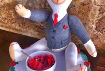 SIR JAMES / Adult teddy bear (52 cm) with gray flannel jacket, white cotton shirt, tie and red silk handkerchief. carrying twins and paste buttons