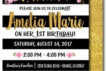 Digital Printable 1st Birthday Invitations! / 300 dpi high resolution jpeg printable files of our best designs!