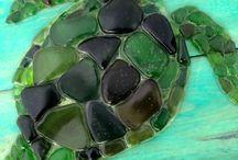 Pebble and sea glass art