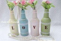 garrafas decorativa  com letras