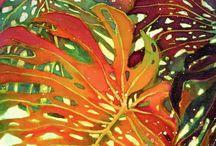 Pintura de hojas tropicales