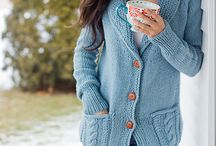Thick wool cable pockets. / Ladies cardigan