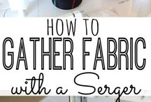 gather fabric with serger