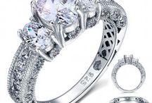 bagues de fiançailles argent 925 / Bagues de fiançailles en argent massif 925 Sterling silver engagement rings