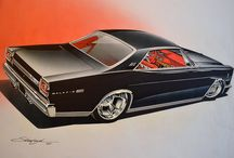 car drawings by Steve Stanford