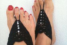 elegante neri perle all'uncinetto ai piedi per signora