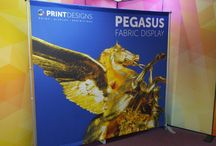 Pegasus Display Stands / The Pegasus Banner Stand is a lightweight and compact alternative to conventional wide roller banner stands.