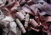 Plant dyed silk ribbon / finest silk ribbon, hand dyed with botanical material grown on the farm. No added chemicals.