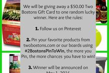 Contests, Give-A-Ways, Pin-It-To-Win-It and More! / Two Bostons wants to know what your favorite products and pins are!  See what contests & give-a-ways we have going on!