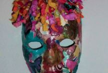 Various mixed media projects such as masks, large wall collages, etc.