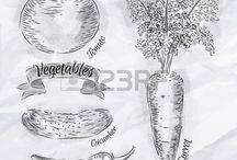 vintage zöldségek