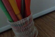 Askartelut / Karkki purkista ja muffini vuuista kynä rasia
