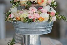 """Mini Round Wedding Cupcaketree Cupcake Stand / Would you like to offer your guests a variety of cupcake flavors for your wedding reception?  Placing the selection on a Mini Round Cupcaketree allows you to display 100 cupcakes plus offer an 8"""" cake on the top for the cutting ceremony."""