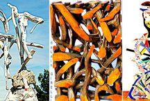 Bois Peint ~ Painted Wood ~ 塗装木材~ lackiertem Holz / sculpture ~peinture d'Alain Girelli