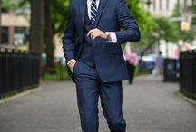 trajes azules hombre