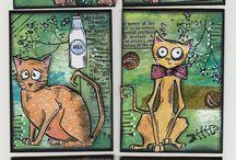 Crazy Cats/Tim Holtz Cards