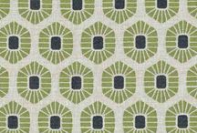 Colour, nature, pattern fabric design / Australian hand printed geometric  retro  upholstery fabric