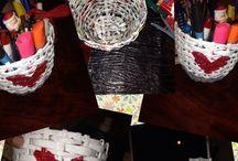 Kalemlik, şişe süsleme / Gazete kağıdından sepet kalemlik