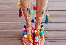 "Pom pom sandals/ Tie up Gladiator Sandals/ Boho Hippie Sandals/ Friendship Boho Flats ""Alegria"""