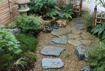 Jardins sur le côté de la maison