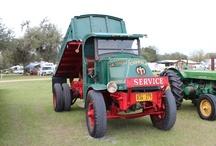 antique cars, trucks and tractors.