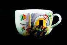 Tazas de cerámica pintadas / Tazas de cerámica pintadas a mano artesanalmente