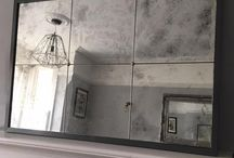 Antiqued Distressed Glass Panelled Mirrors / Antiqued Distressed Glass Handmade Panelled Mirrors